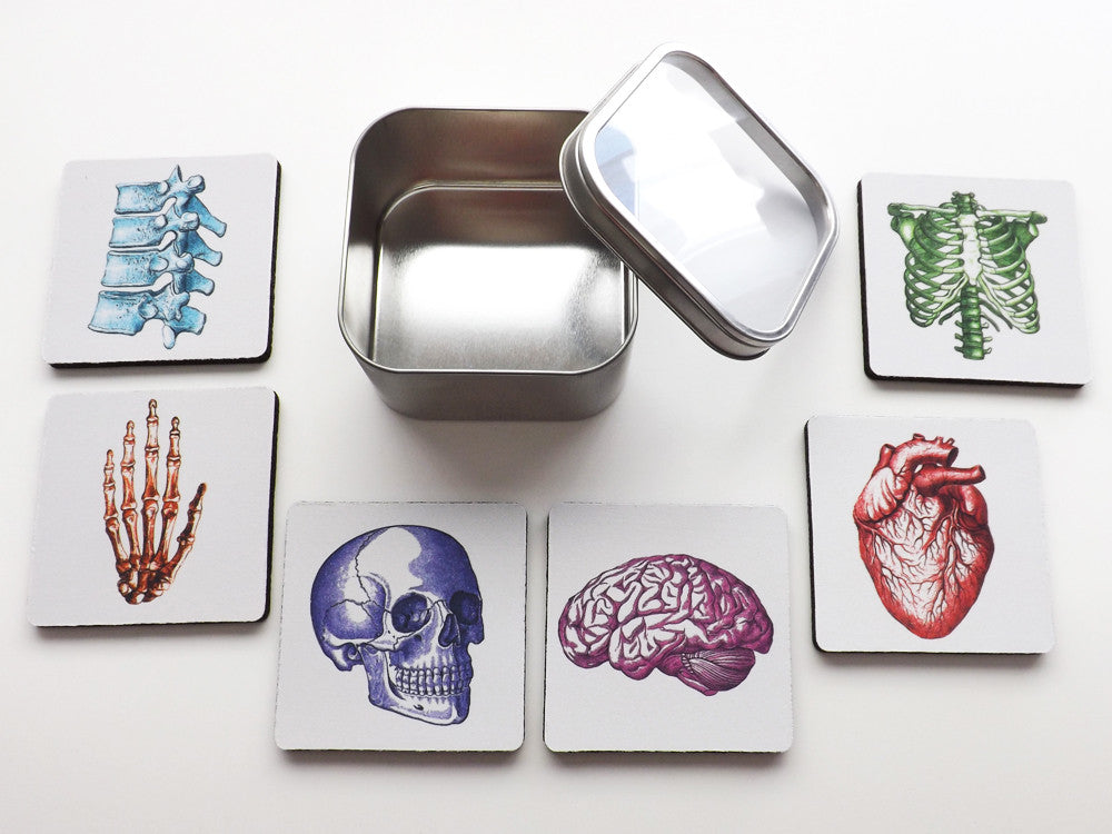 Nursing School Graduation Colorful Anatomy Coasters Gift Set physician assistant doctor medical student-Art Altered