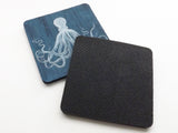 Blue Octopus Drink Coasters housewarming hostess gift beach sea ocean home decor tentacles-Art Altered