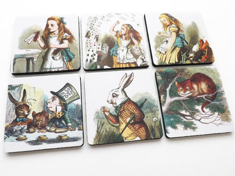 Alice Coasters rubber / neoprene drink me mad hatter party favors hostess gift-Art Altered