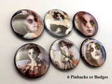 Horror Macabre PINBACK BUTTONS pins badges creepy faces vampire children halloween-Art Altered