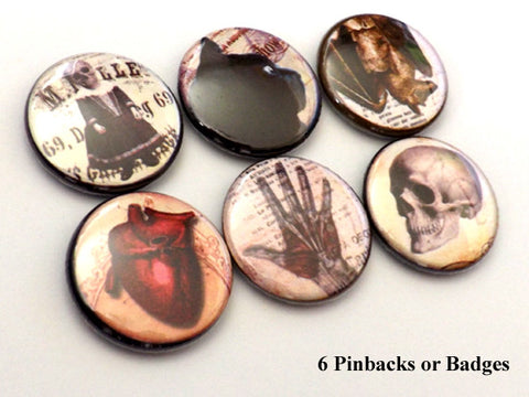 Goth PINBACK BUTTONS pins badges macabre anatomical heart skull-Art Altered