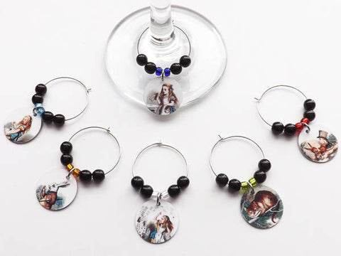 Alice Drink Markers Glass Charms Hostess Housewarming Gift-Art Altered