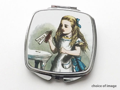 Alice Compact Mirror fashion accessory stocking stuffer hostess gift drink me mad hatter cheshire cat geek-Art Altered