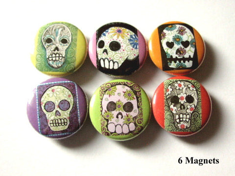 Day of the Dead MAGNETS calavera skull skeleton day of the dead-Art Altered