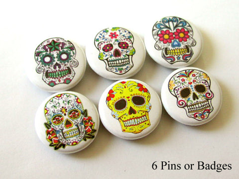 Dia de los Muertos PINBACK BUTTONS pins badges sugar skulls day of the dead halloween-Art Altered