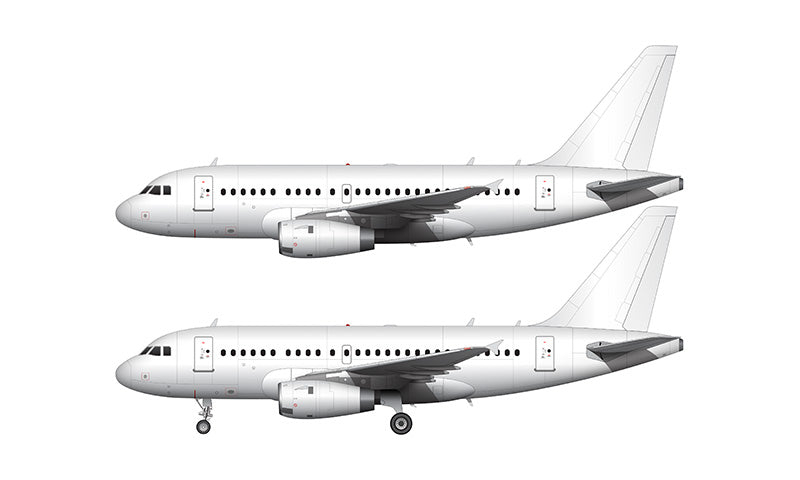 All White Airbus A318 with Pratt & Whitney engines template
