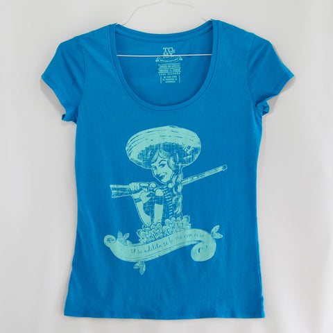 T-Shirt Women's Adelita Blue, tribute to the Mexican women in the Revolution era.an invitation to the actual generation of women all over the world to keep fighting for human rights.