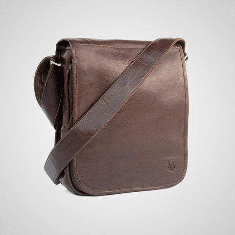 Brown Messenger Bag made of leather. Handmade in Mexico.