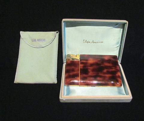 Elgin American Lite-O-Matic Enamel Cigarette Case In Original Box Great Working Condition 1940s Case Lighter