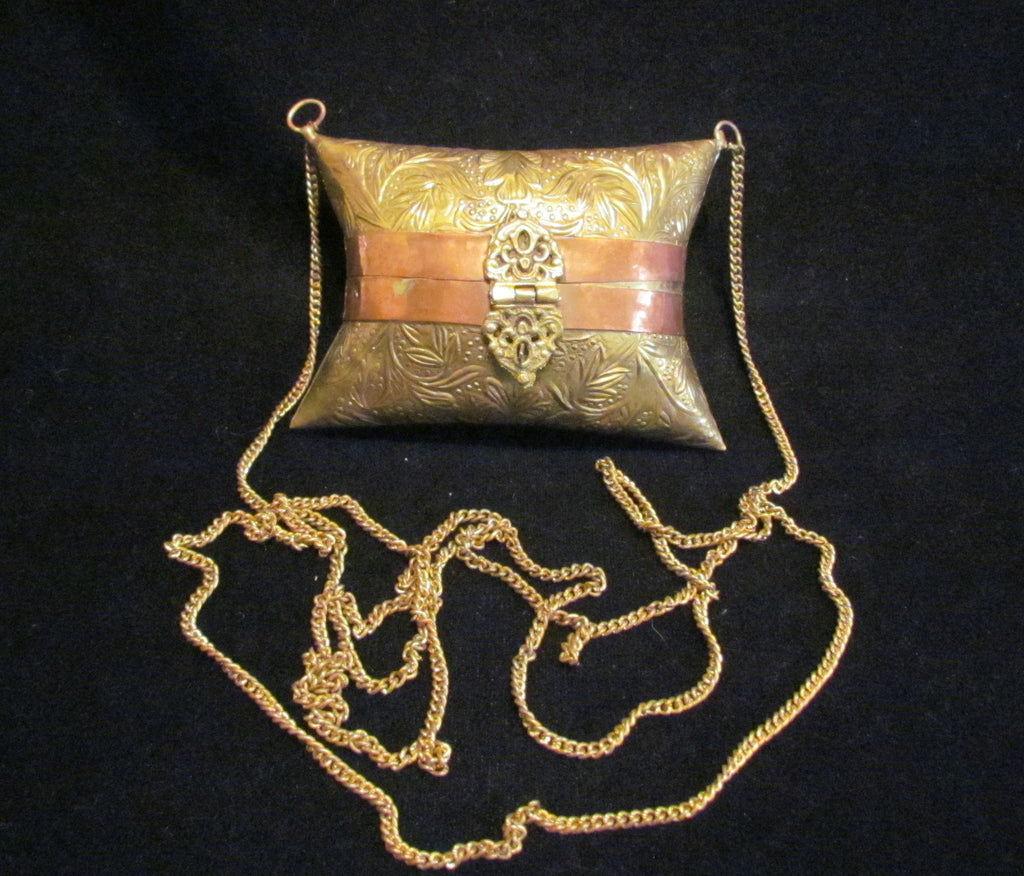 Vintage Brass And Copper Pillow Purse Small 1930s Shell Evening Bag