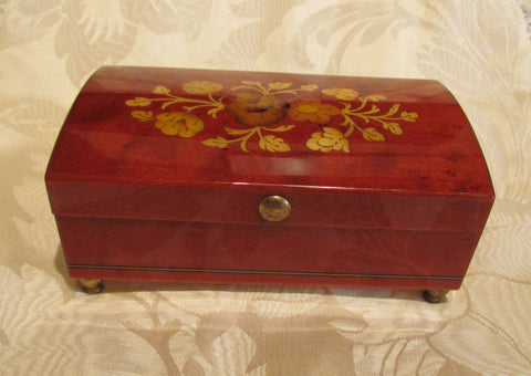 Reuge Music Box Italian Inlaid Burl Wood Swiss Movement Ring Jewelry Box