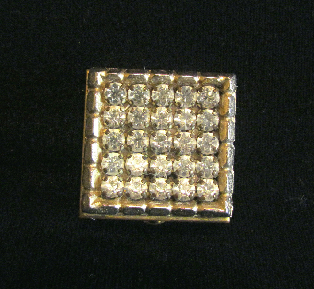Rhinestone Powder Compact 1940s Small Compact Unused