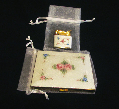 Evans Cigarette Case Lighter Set Guilloche Enamel 1950s Floral Set Fits 100s Excellent Working Condition