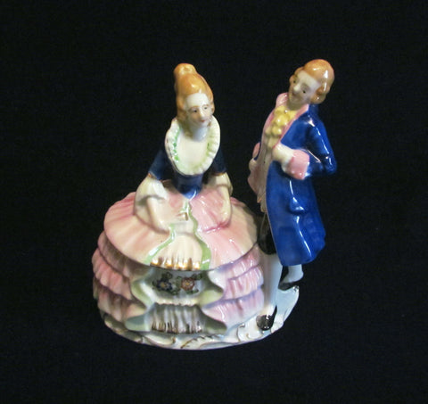 1940s Victorian Powder Jar Courting Figural Powder Box Japan
