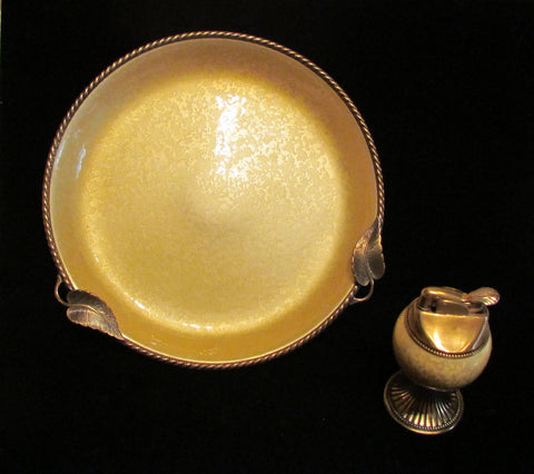 1950's Evans Guilloche Lighter Ashtray Set Vintage Enamel Working Table Lighter And Ashtray