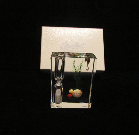 Clearfloat Lucite Timer Sea Shells Seahorse 1950's Sand Timer Unused In Original Box Mid Century