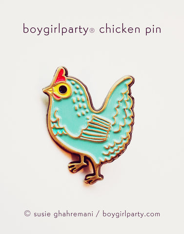 Blue Chicken Pin by Susie Ghahremani / http://shop.boygirlparty.com