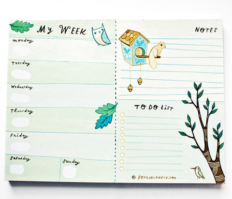 Weekly Planner Notepad (Blue) by Susie Ghahremani / boygirlparty.com