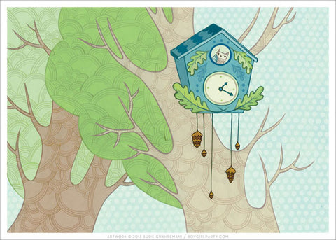 Cuckoo Clock Art Print by Susie Ghahremani / boygirlparty.com