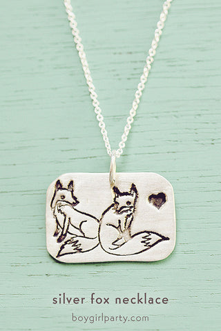 Silver Fox  / Heart Necklace