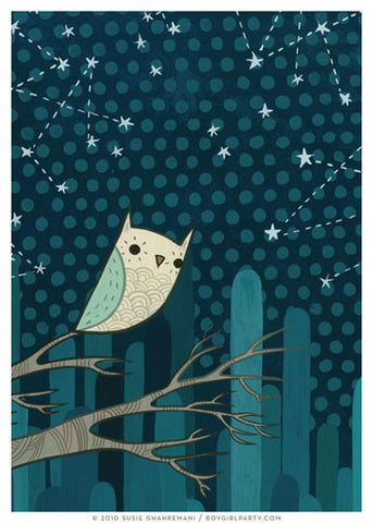 Starry Owl Art Print (No. 1) by Susie Ghahremani / boygirlparty.com