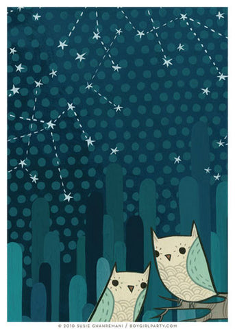 Starry Owl Art Print (No. 2) by Susie Ghahremani / boygirlparty.com