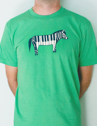 Piano Zebra T-shirt (Green) by Susie Ghahremani / boygirlparty.com - Unisex and Ladies Sizes