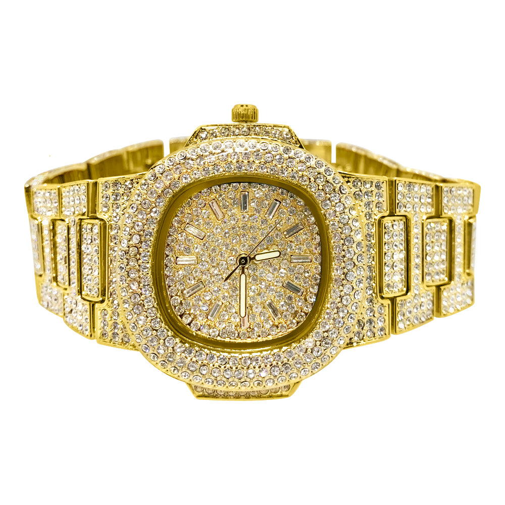 Gold Fully Iced Out Czech Crystal Nautical Watch