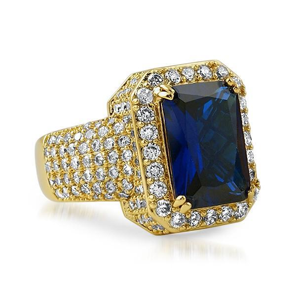 Gold Synthetic Sapphire CZ Royal Ring