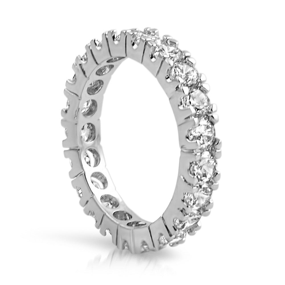 Classic 3mm Iced Out Eternity Ring White Gold