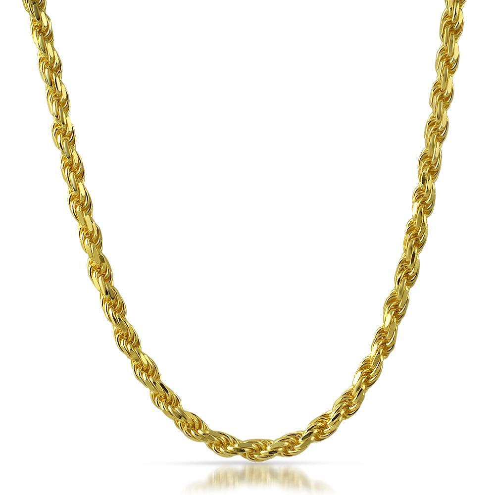 5mm Large 14K Gold Diamond Cut Rope Chain