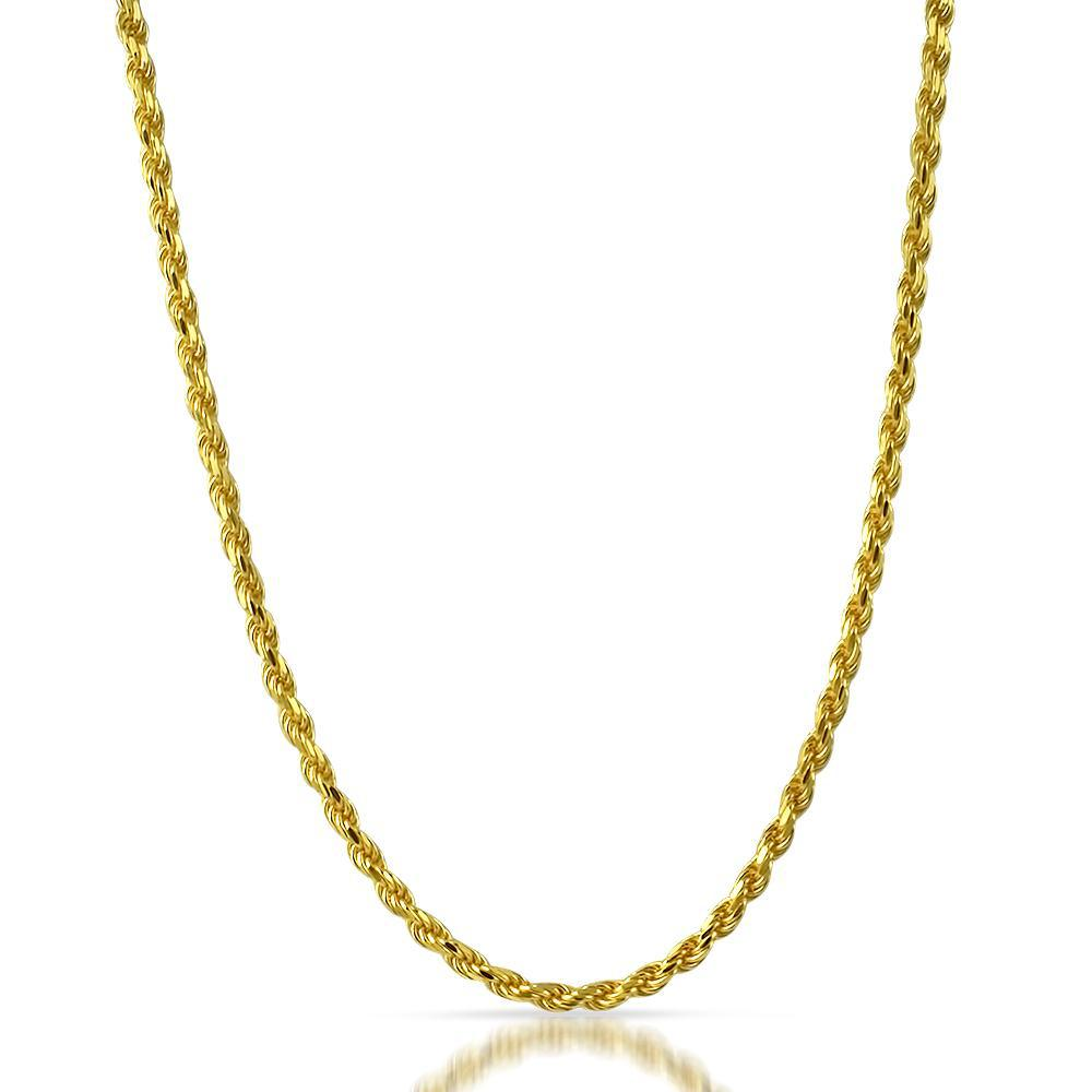 4mm Italian 14K Gold Diamond Cut Rope Chain