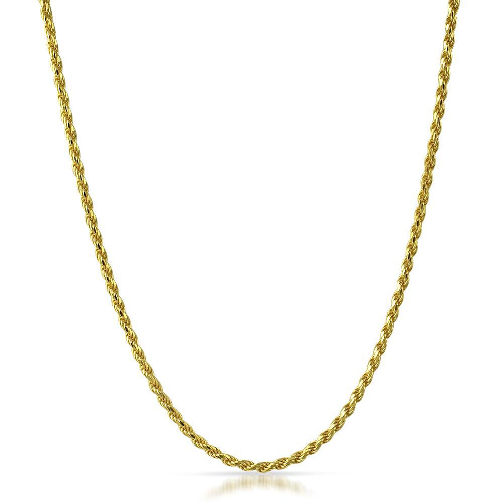 14K Gold 3mm Italian Diamond Cut Rope Chain