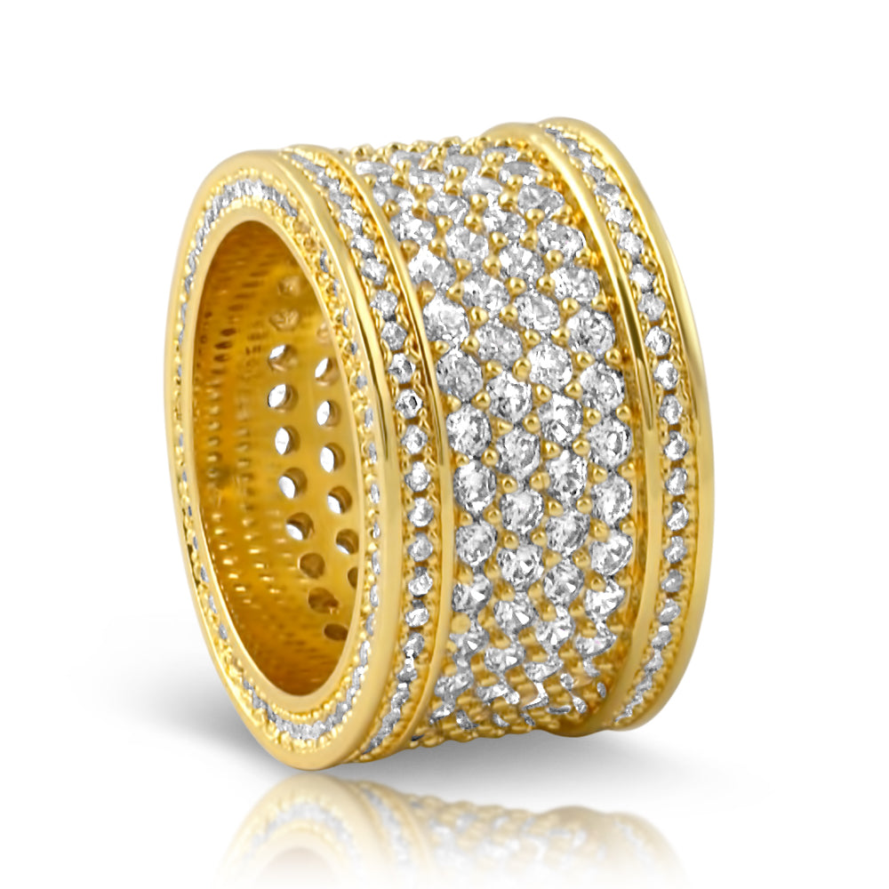 18K Gold Finish Big Body Diamond Eternity Ring