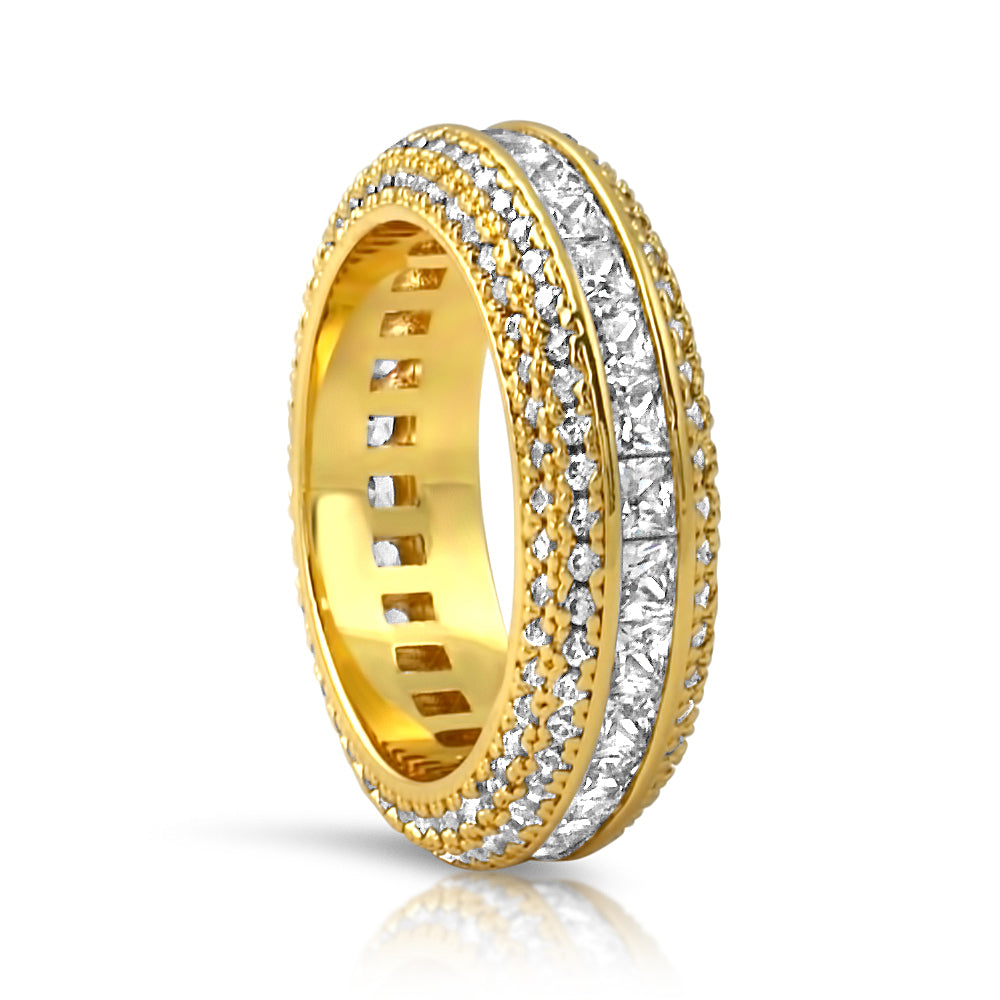 Gold Princess Cut Diamond Eternity Ring