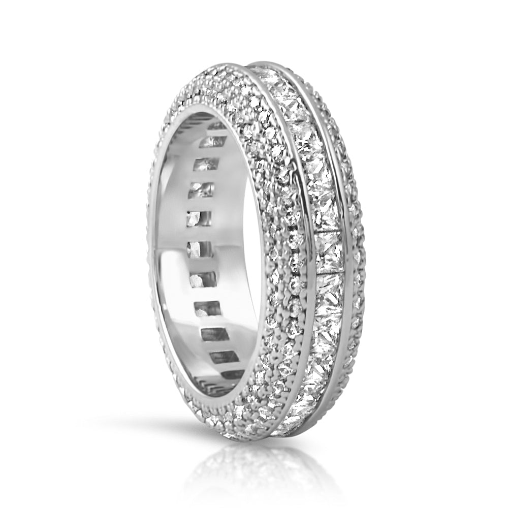 925 Silver Princess Cut Diamond Eternity Ring