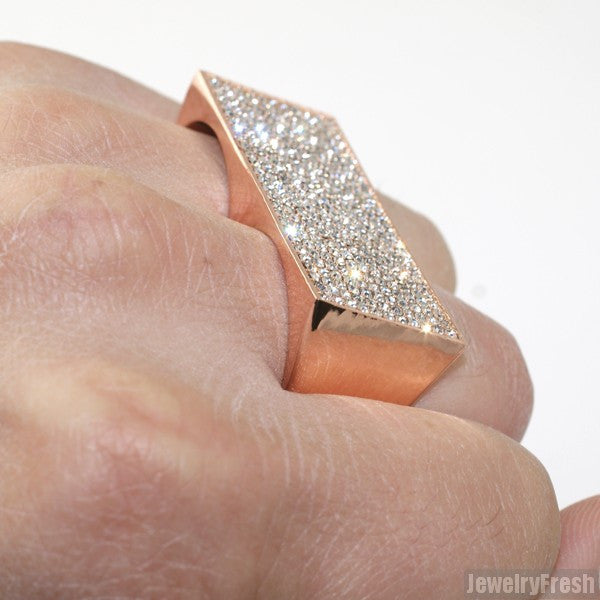Rose Gold Finish Iced Out 2 Finger Pimp Ring