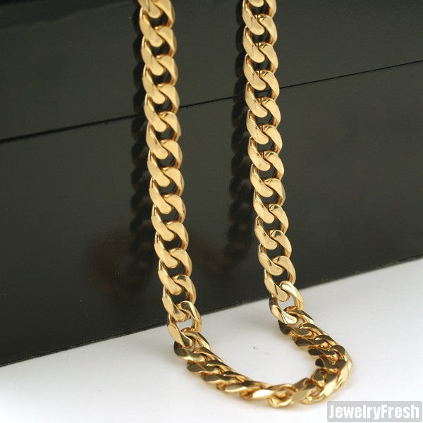 7mm 14K Gold IP Stainless Steel Cuban Chain