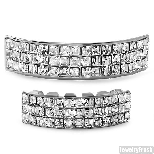 3 Row Princess Cut Silver Grill Combo