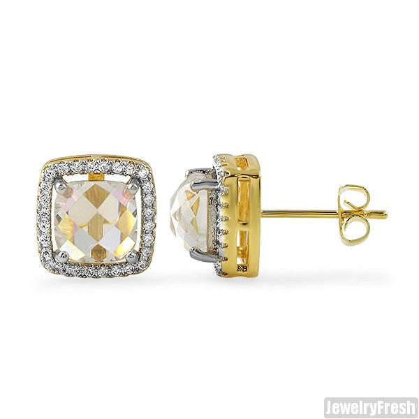 Gold Rose Cut Halo CZ Stud Earrings