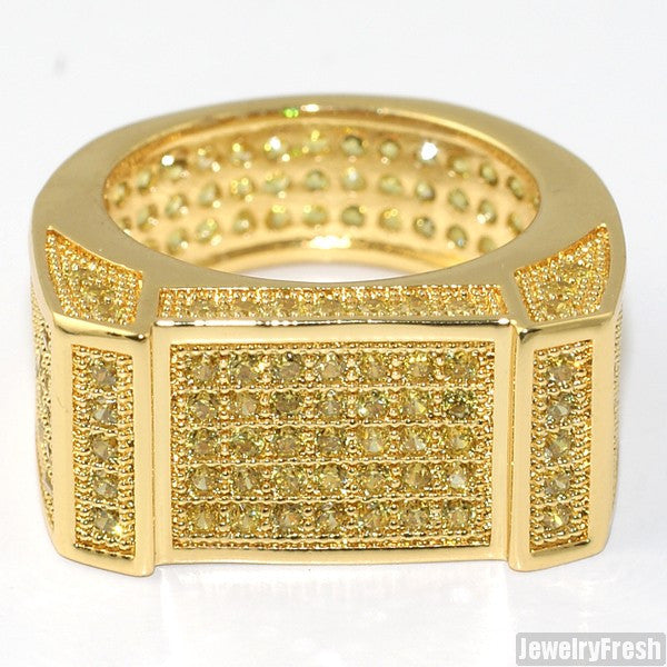 Gold Canary Yellow Lab Made Flat Bar 360 Iced Ring