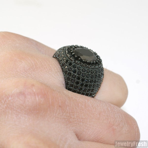 Large Oval Stone All Black Lab Made Ring
