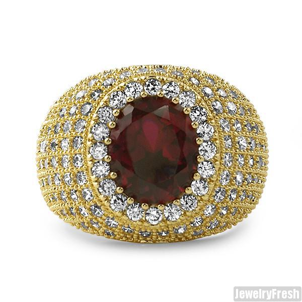 Large Oval Ruby Iced Out Gold Ring