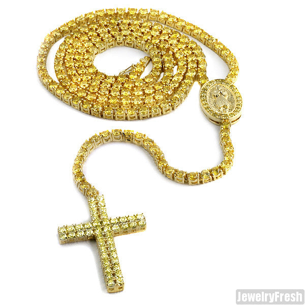 Canary Yellow Gold Full Lab Stone Rosary Necklace
