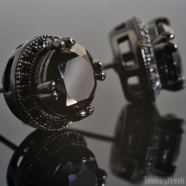 Blacked Out Big Stone Simulated Diamond Earrings