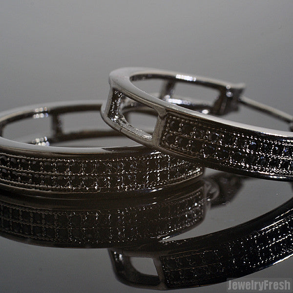 Black 2 Row Micropave CZ 24mm Hoop Earrings