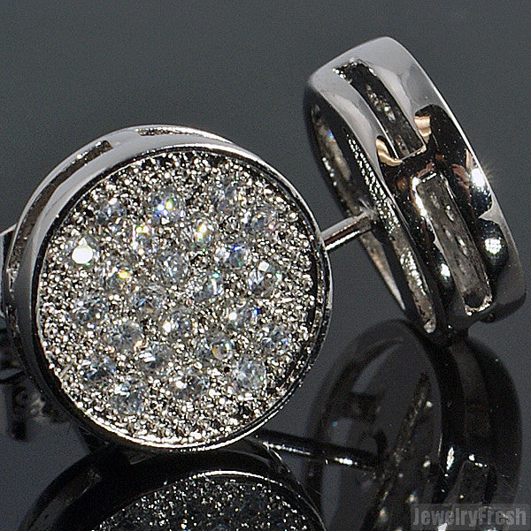 Rhodium Micropave Button Simulated Diamond Earrings