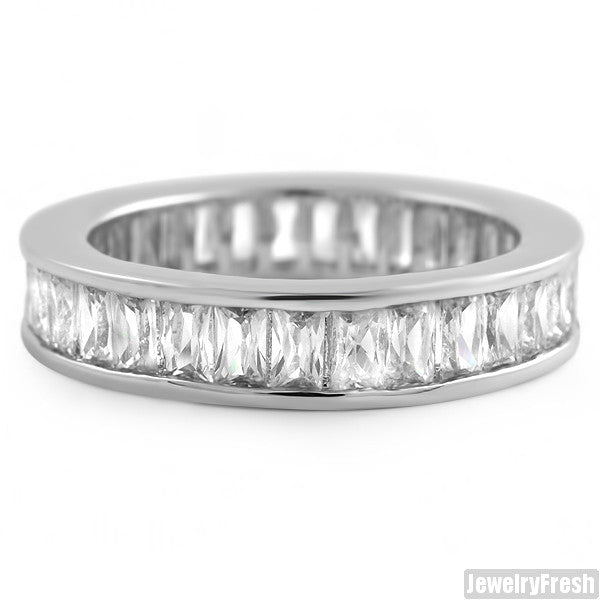 White Gold Finish Baguette Stone CZ Eternity Ring