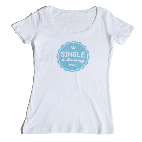 Women's Bottle Cap Scoop Tee - White & Aqua