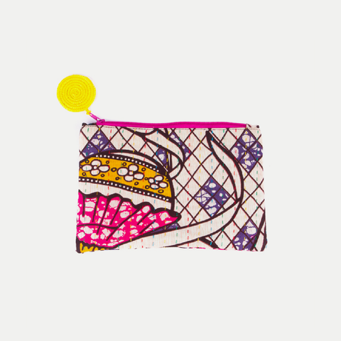 Kitenge Pouch: Yellow Balloons (Large)